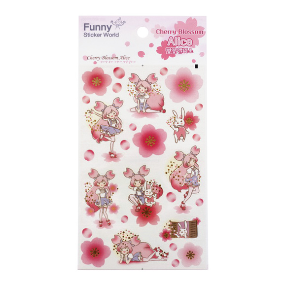 מדבקות ניייר Funny Sticker -Cherry Blosson Alice