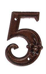 מספרי בית מברזל יצוק - הספרה 5