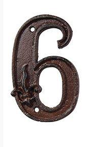 מספרי בית מברזל יצוק - הספרה 6
