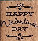 Wood Stamp - Happy Valentine Day Square
