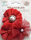 Frilled Fabric Flowers Cherry Red
