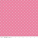 בד כותנה - C670-70 - White Swiss Dot On Hotpink