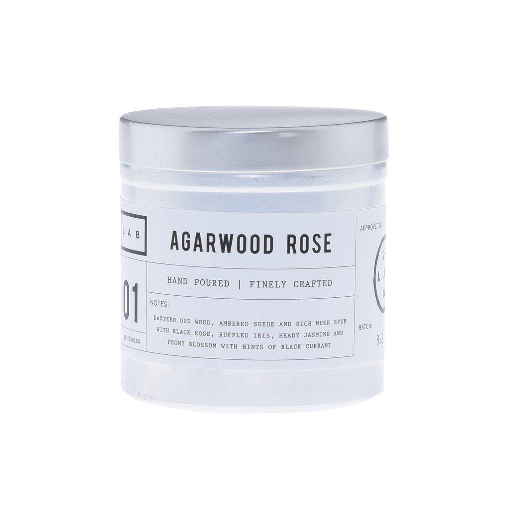 נר בכלי אלומיניום כסוף - Agarwood Rose