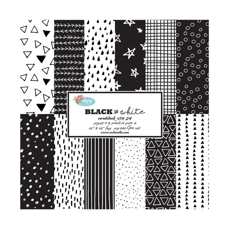 מארז דפי קארדסטוק - Black and White