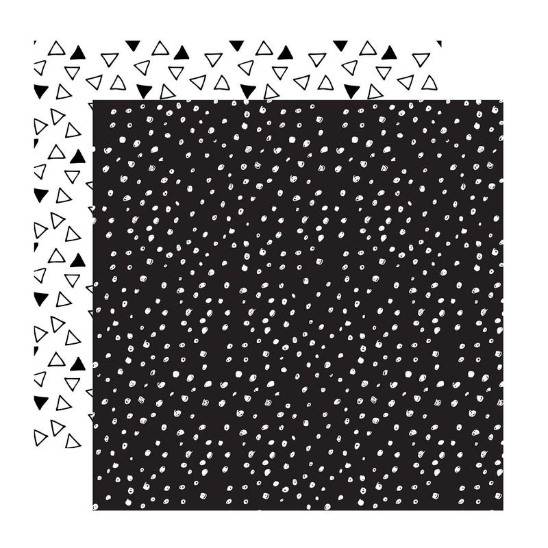 דף קארדסטוק- Black and White- נקודות ומשולשים