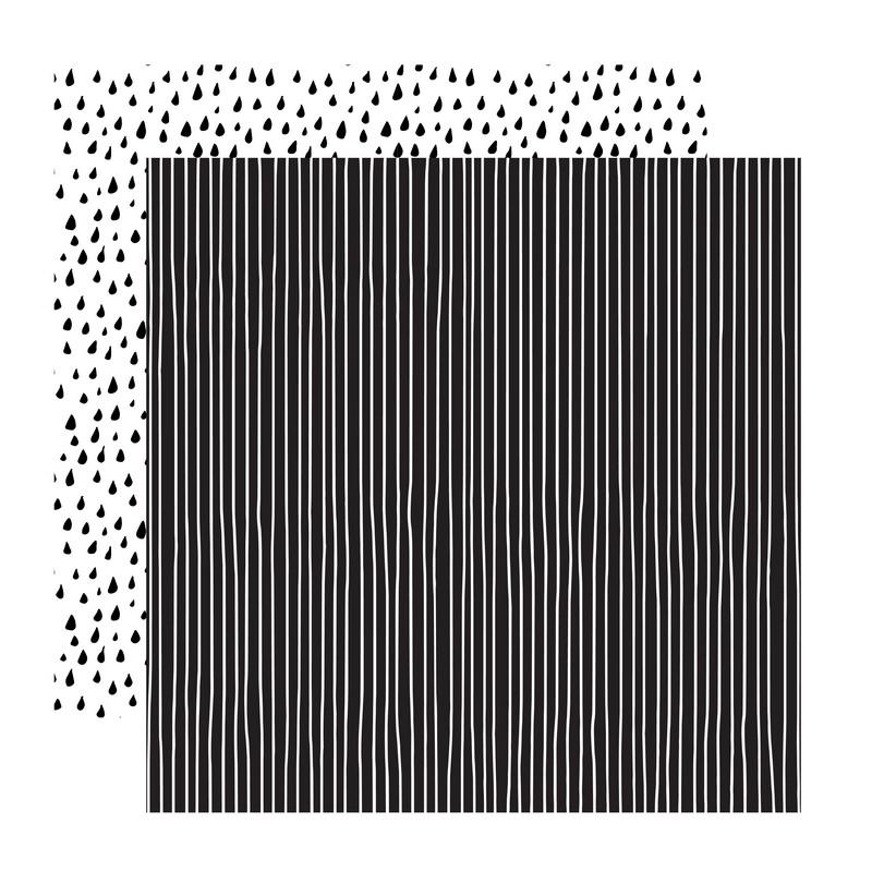 דף קארדסטוק- Black and White- טיפות ופסים