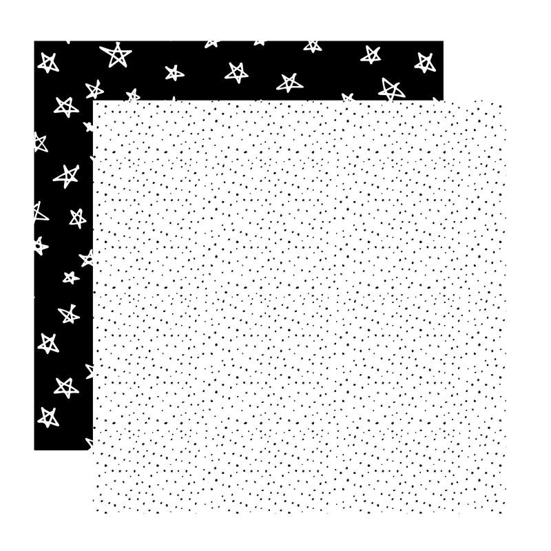 דף קארדסטוק- Black and White- נקודות וכוכבים