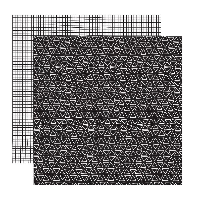 דף קארדסטוק- Black and White- משולשים ומשבצות