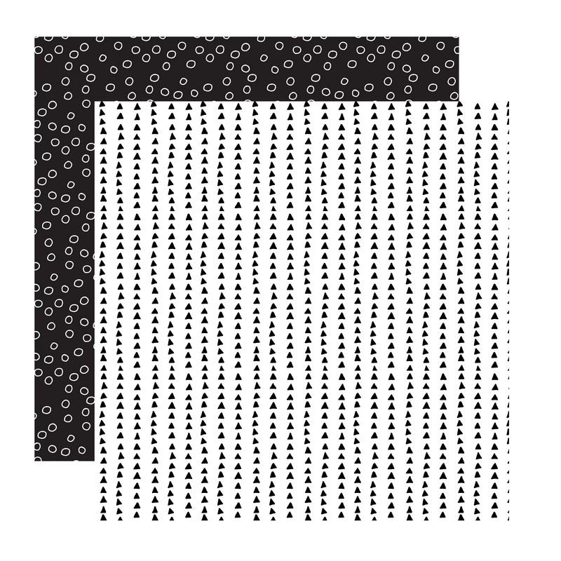 דף קארדסטוק- Black and White- משולשים ועיגולים