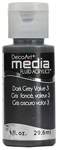 DecoArt Media Fluid Acrylic Paint - Dark Grey Value 3