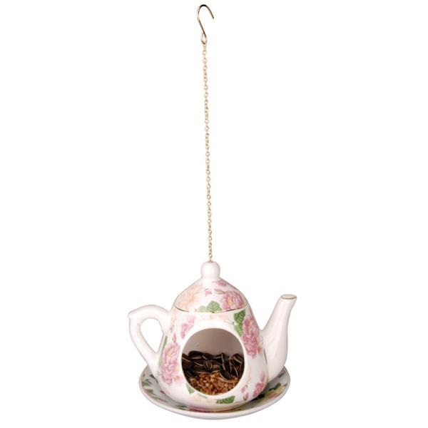 מתקן האכלה קנקן תה - פרחים ורוד בהיר