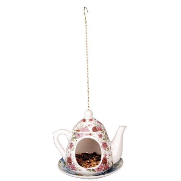 מתקן האכלה קנקן תה - פרחים בורדו