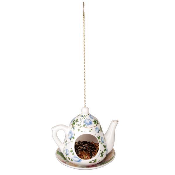 מתקן האכלה קנקן תה - פרחים כחולים