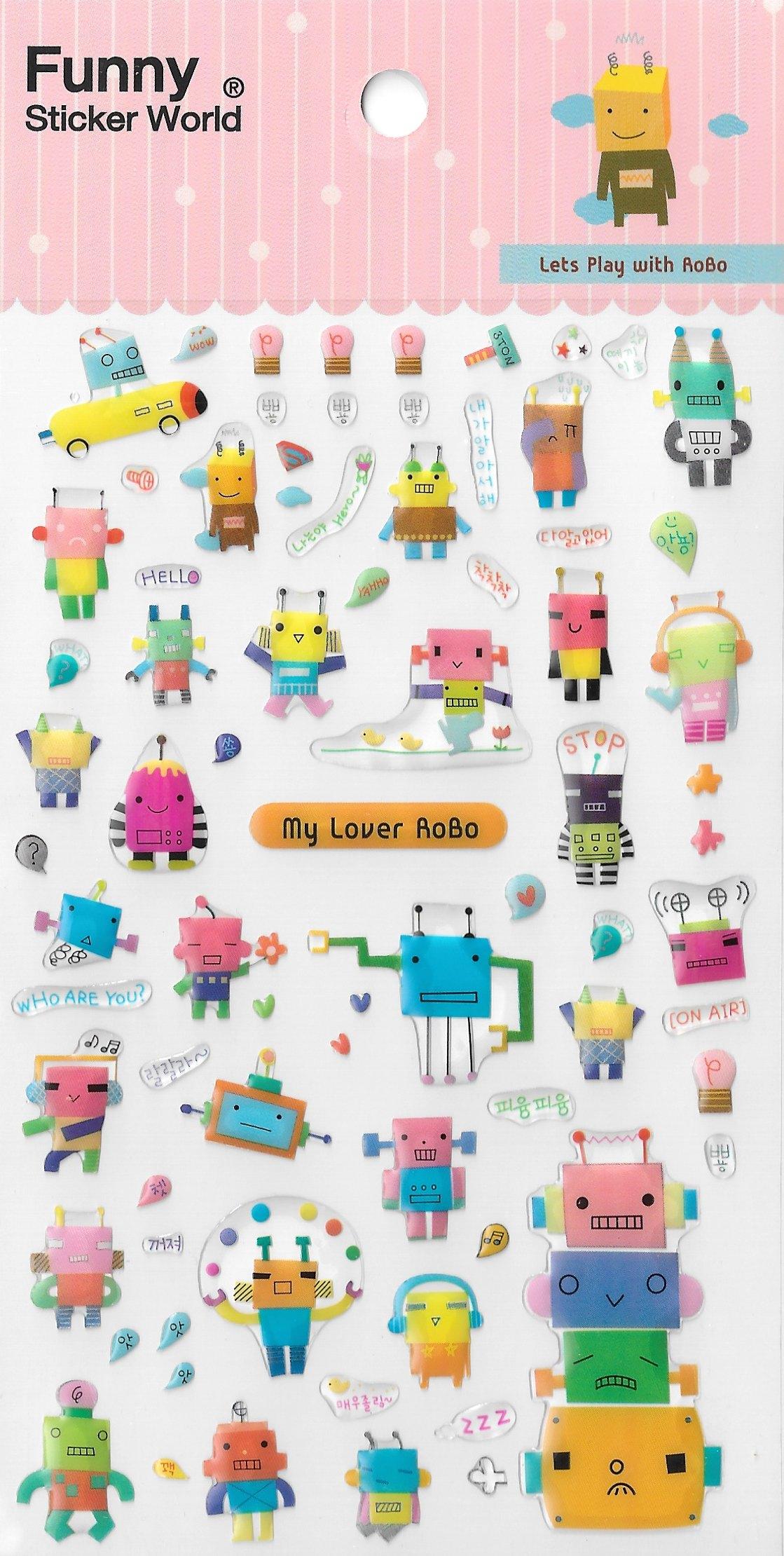 מדבקות אפוקסי - Funny Sticker World - Lets play with ROBO