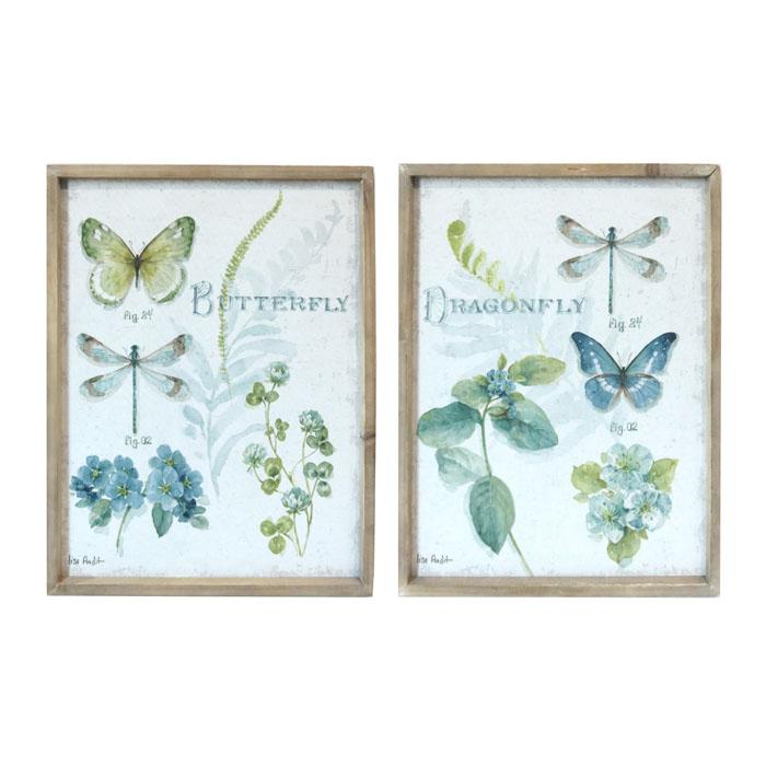 סט תמונות הדפס פרפרים ושפיריות מסגור עץ