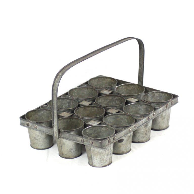 מעמד מפח מגלוון בעל 12 מיכלים עגולים