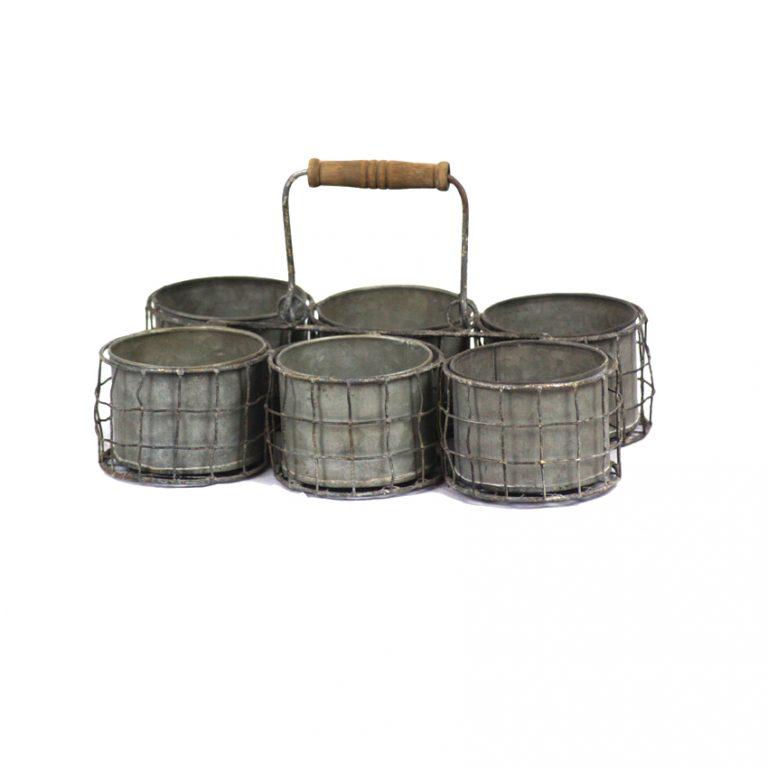 מעמד מפח מגלוון בעל 6 מיכלי עגולים