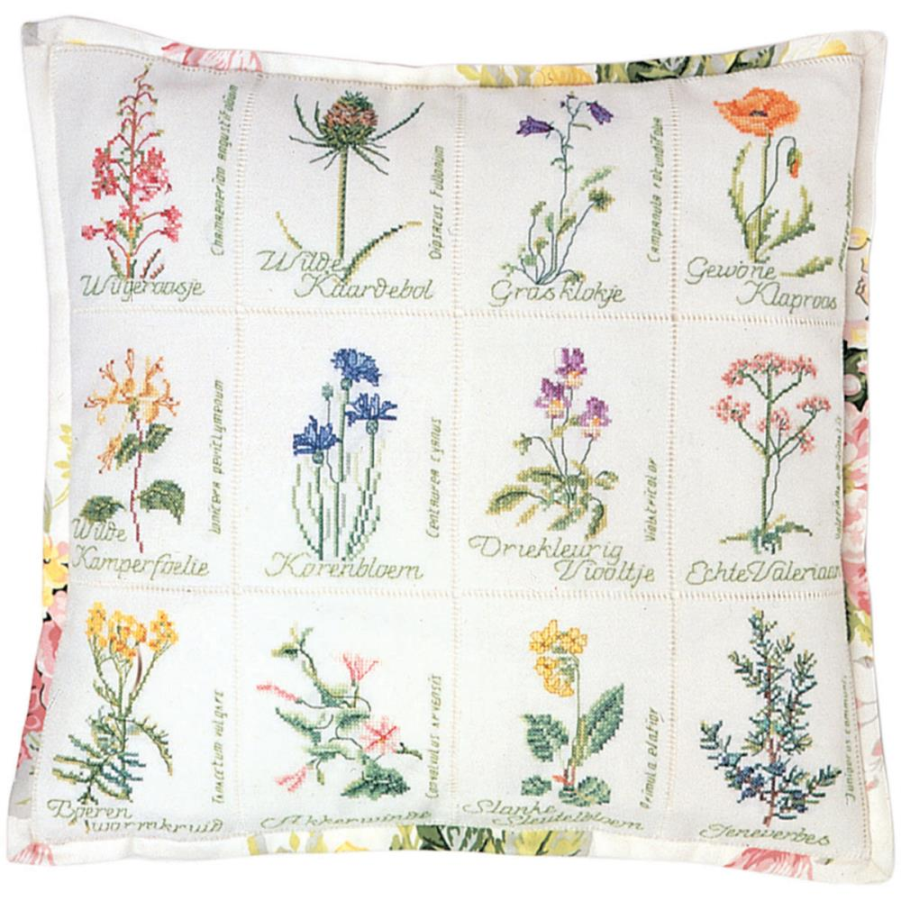 Wild Flower Cushion On Aida Counted Cross Stitch Kit
