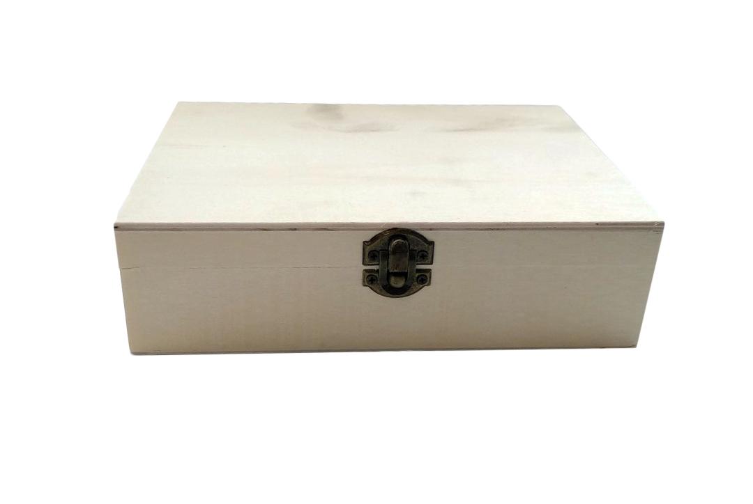 """קופסת עץ מלבנית שטוחה 15X21X6 ס""""מ"""
