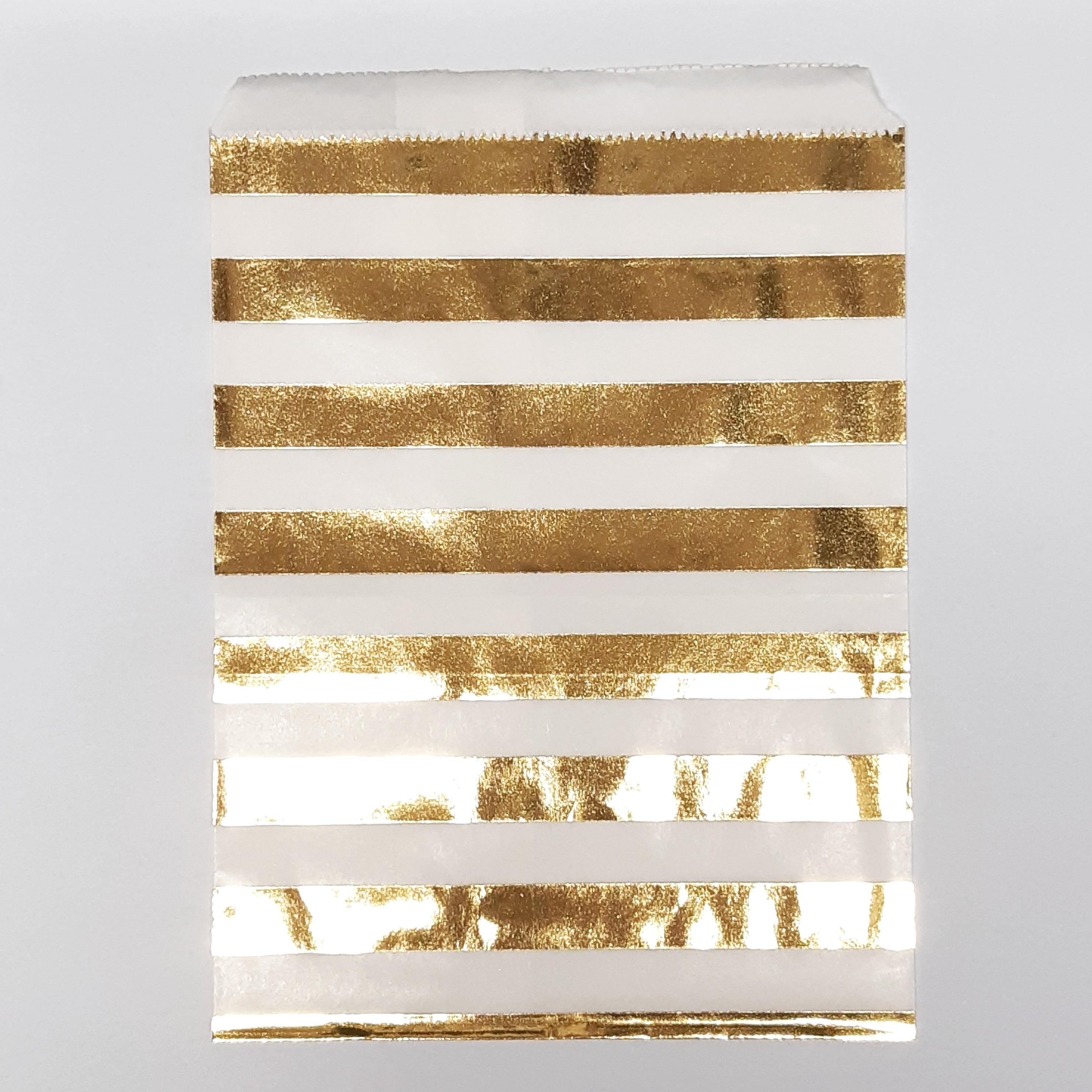 """מארז שקיות נייר פסים זהב 13X18 ס""""מ"""