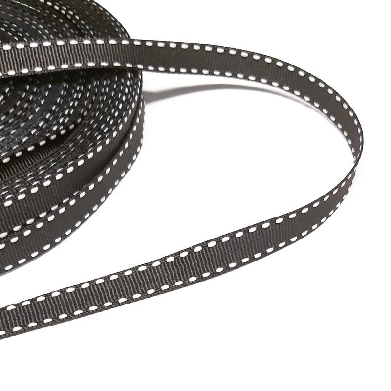 סרט בד שחור - תפר לבן