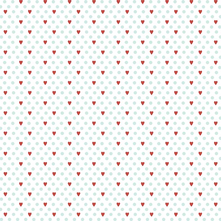 דף קארדסטוק - אהבה - לבבות ונקודות רקע לבן