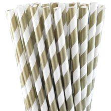 קשיות נייר - פסים זהב ולבן