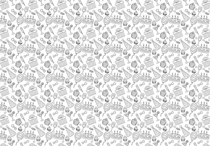 נייר עטיפה- דגם 17 - יום הולדת שחור לבן