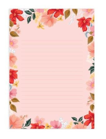 דפי ממו A4 שורות- Wild Rose A4 Notepad