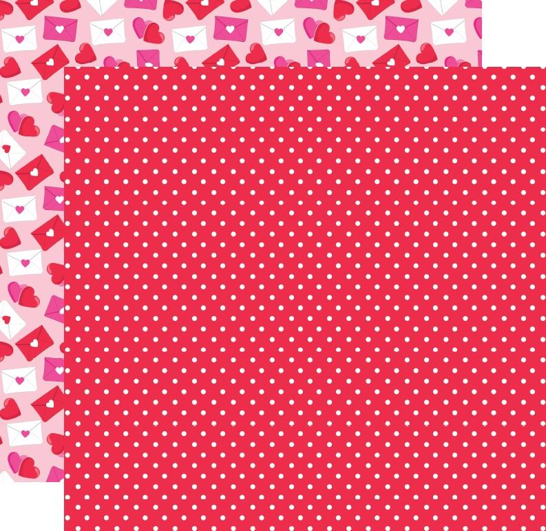 דף קארדסטוק - ינשופים מאוהבים - מנוקד רקע אדום