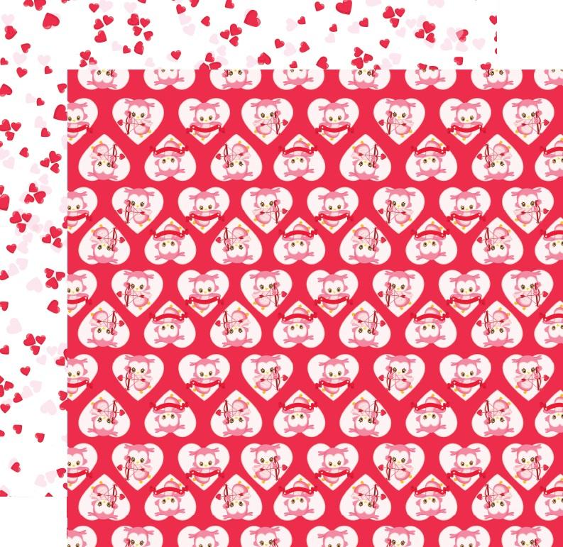 דף קארדסטוק - ינשופים מאוהבים - ינשופים בלבבות רקע אדום