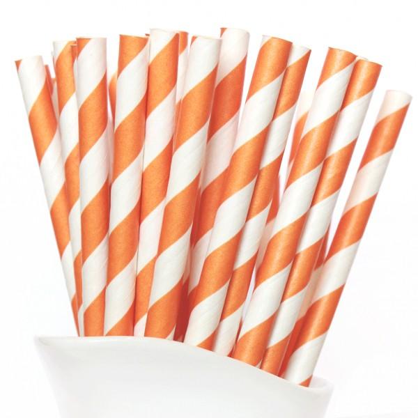 קשיות נייר- פסים כתום ולבן