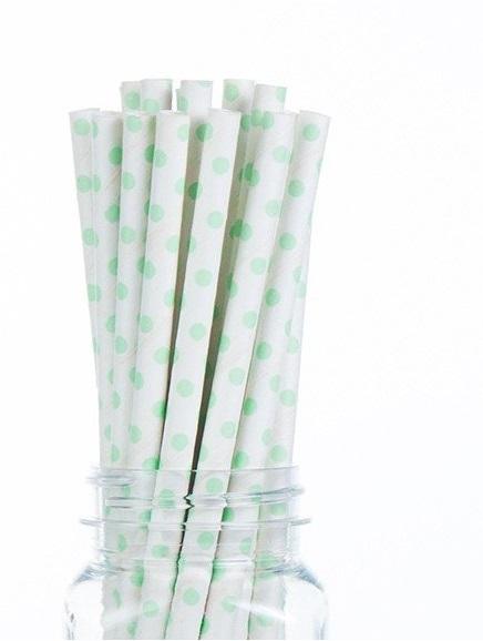 קשיות נייר- נקודות קטנות ירוק מנטה בהיר