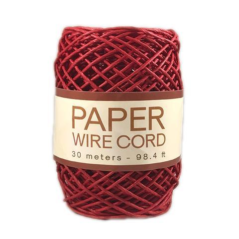 חוט קשירה צבעוני מנייר על חוט תיל - בורדו