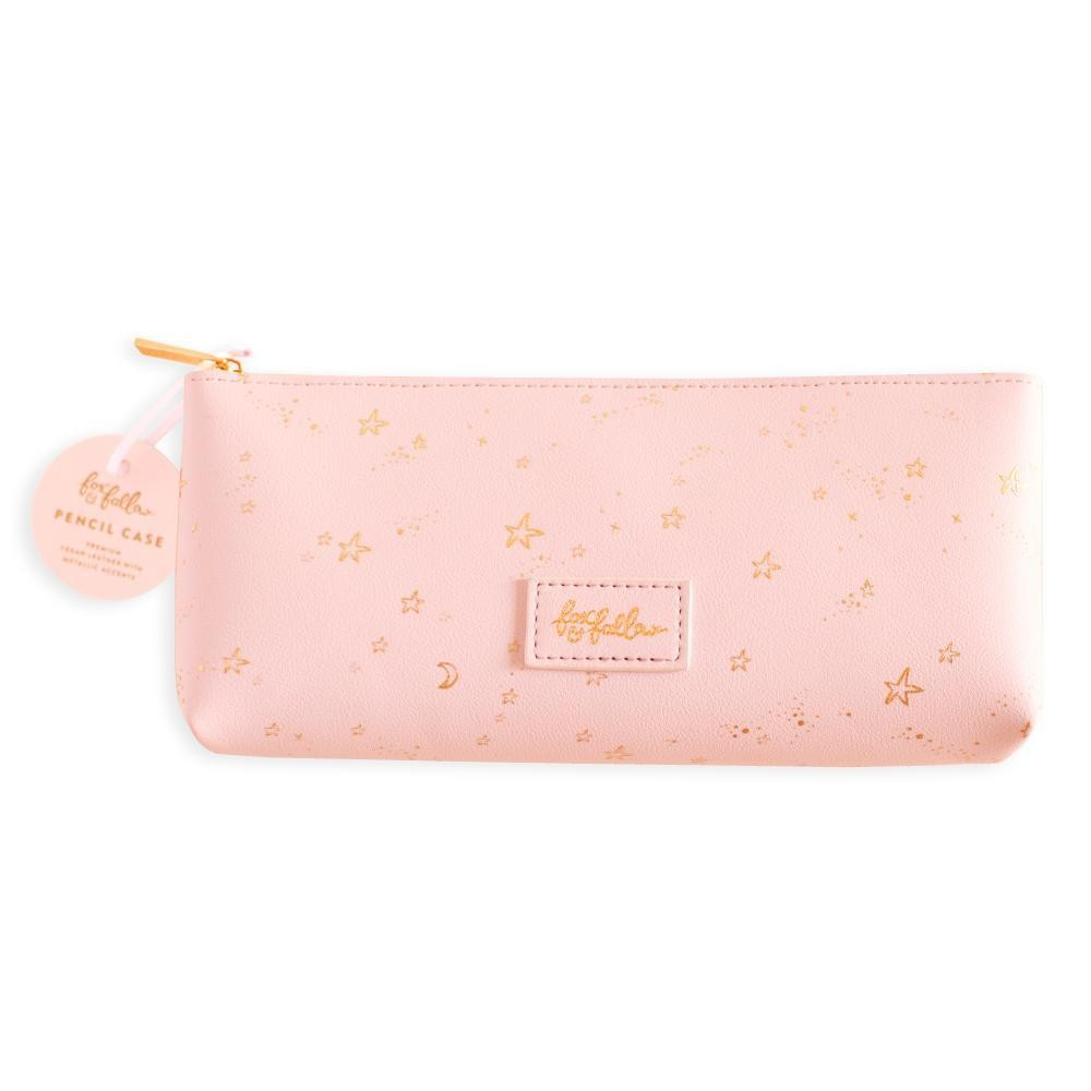 נרתיק דמוי עור-Pink Stardust Vegan Leather Pencil Case
