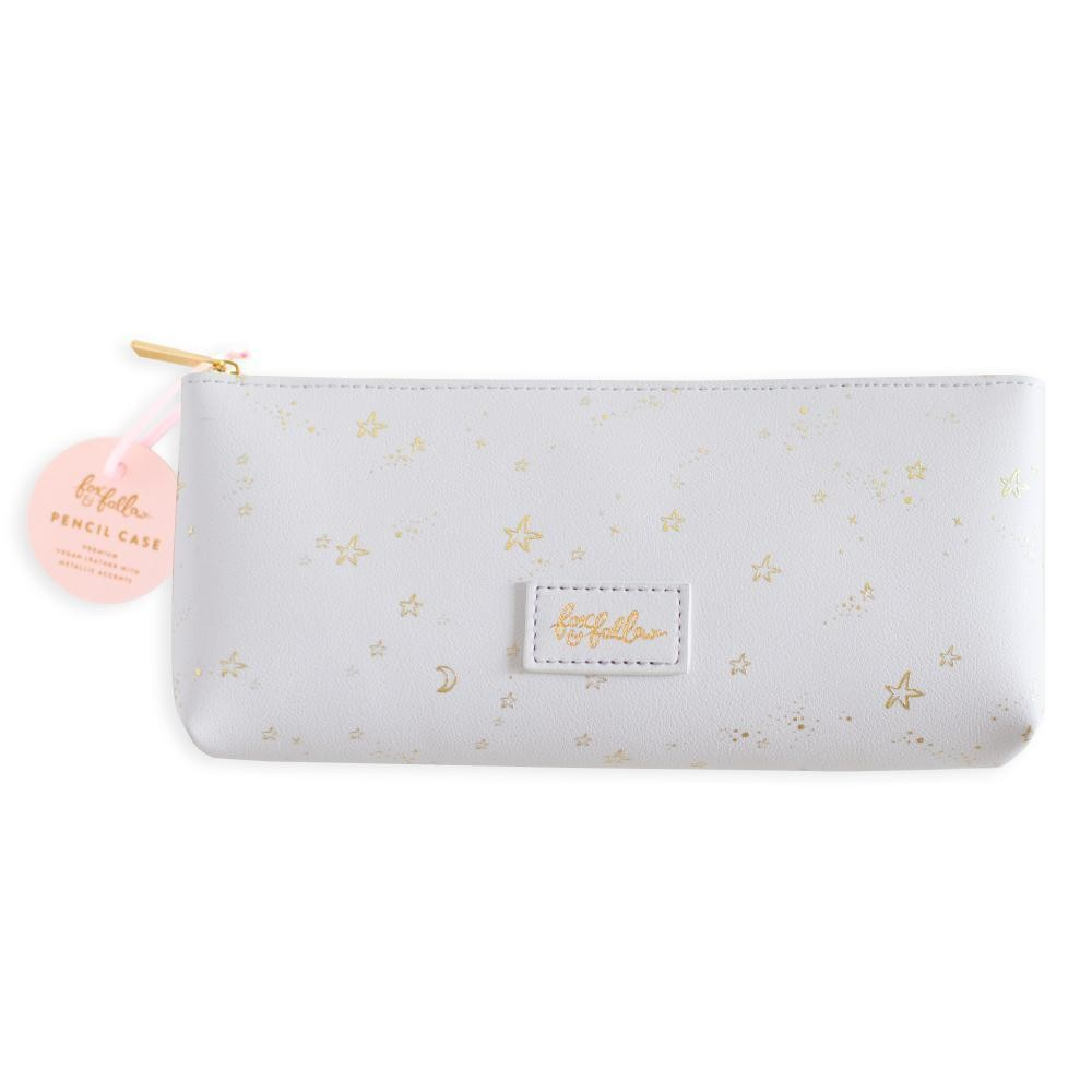 נרתיק דמוי עור-Grey Stardust Vegan Leather Pencil Case