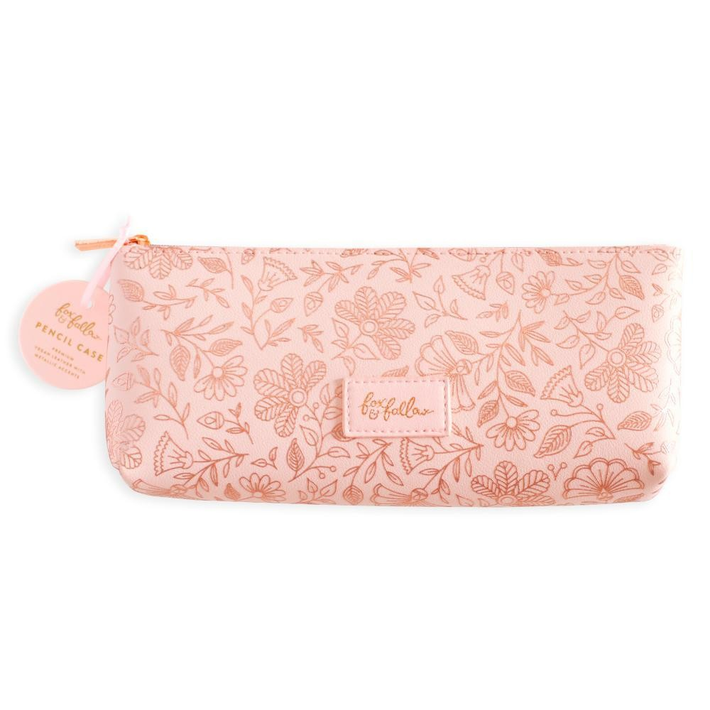 נרתיק דמוי עור-Rose Quartz Vegan Leather Pencil Case