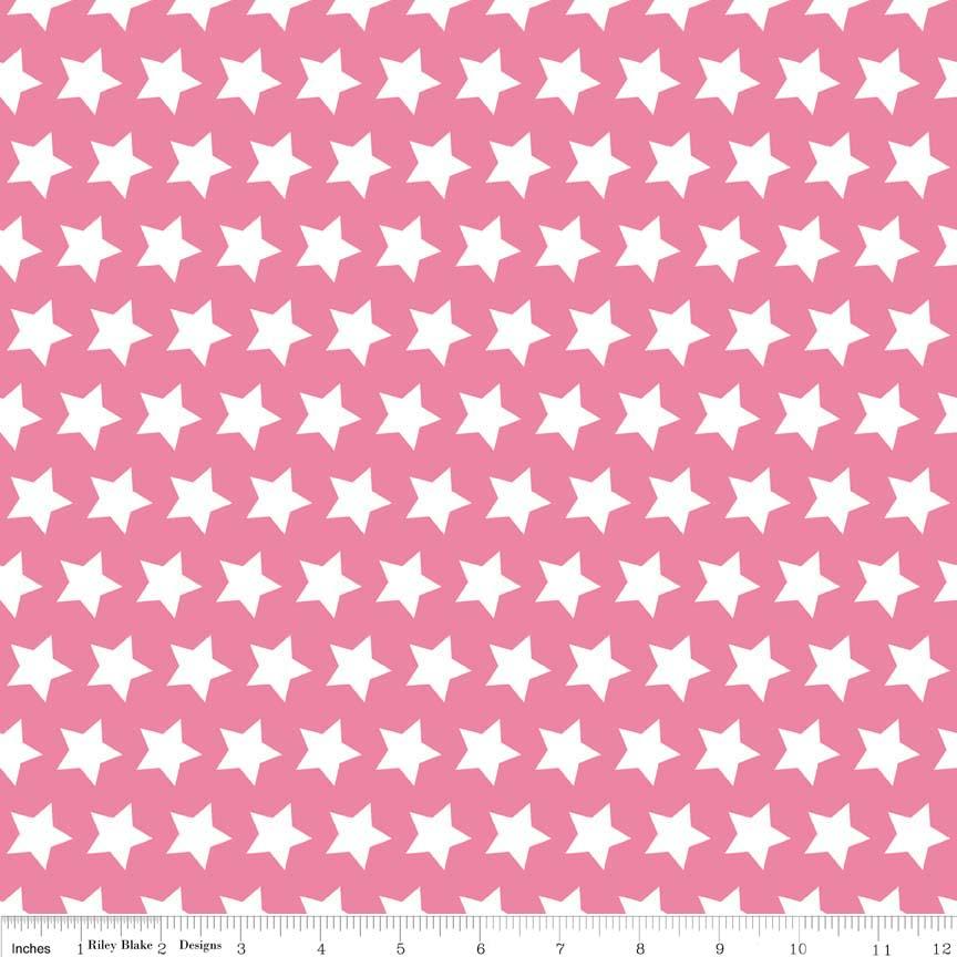 בד כותנה - C315-70 HOT PINK STAR