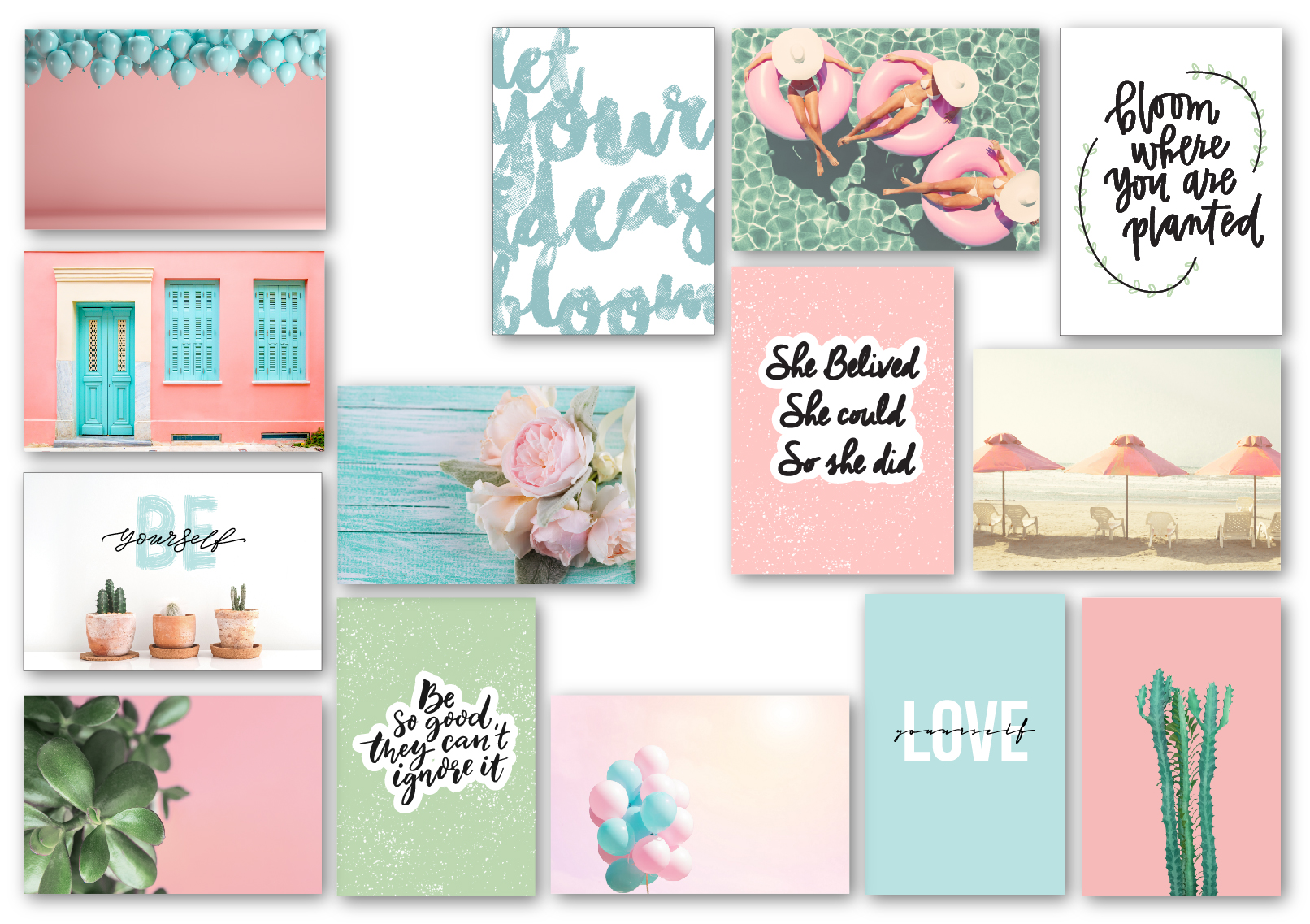 סט גלויות Pink & Aqua