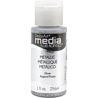 DecoArt Media Fluid Acrylic Paint Metallic - Silver