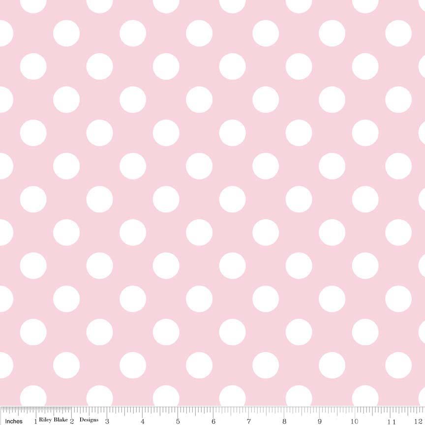 בד כותנה - C360-75 - Medium Dot Baby Pink