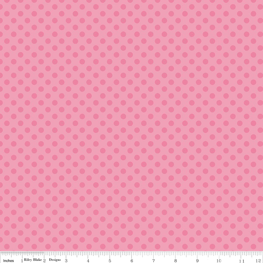 בד כותנה - C420-70 - Small Dots Tone on Tone Hot Pink