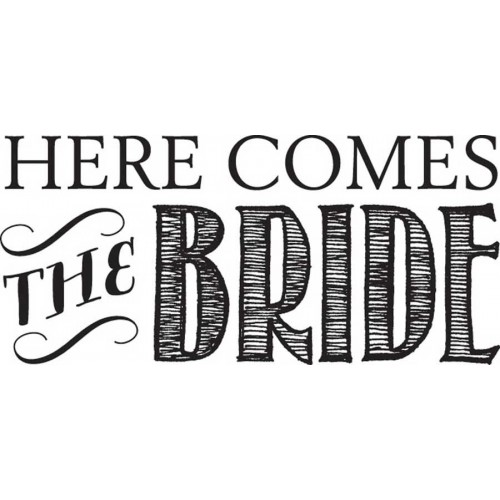 חותמת עץ - Here Comes The Bride