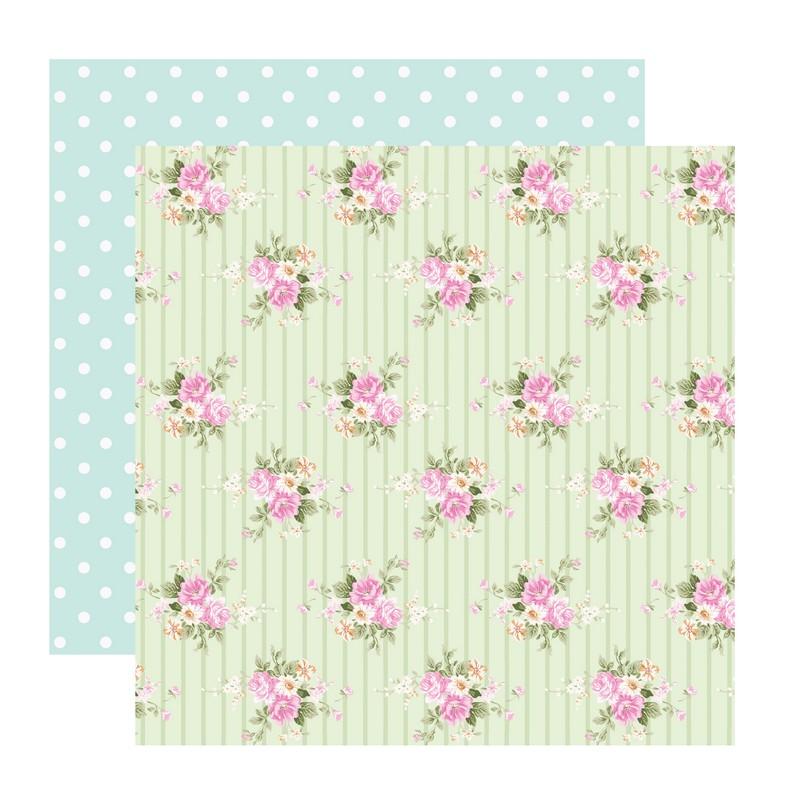 דף קארדסטוק- Romantic Spring- פרחים על רקע ירוק