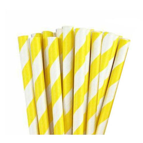 קשיות נייר- פסים צהוב ולבן