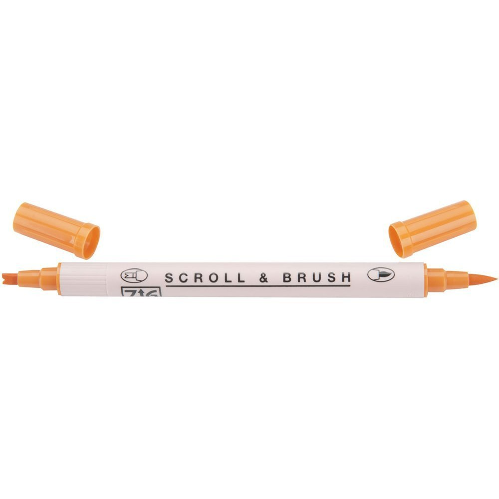 Zig Scroll & Brush Marker - Pure Orange 070