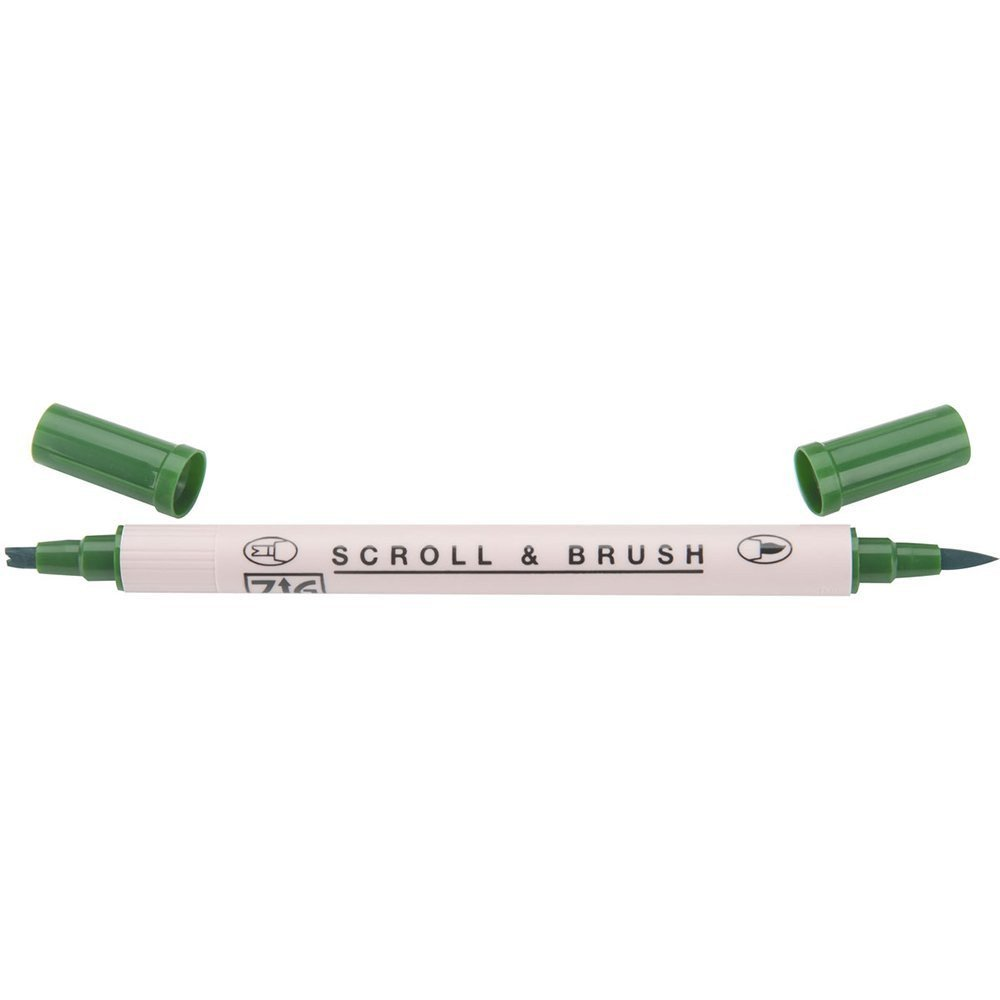 Zig Scroll & Brush Marker - Pure Green 040