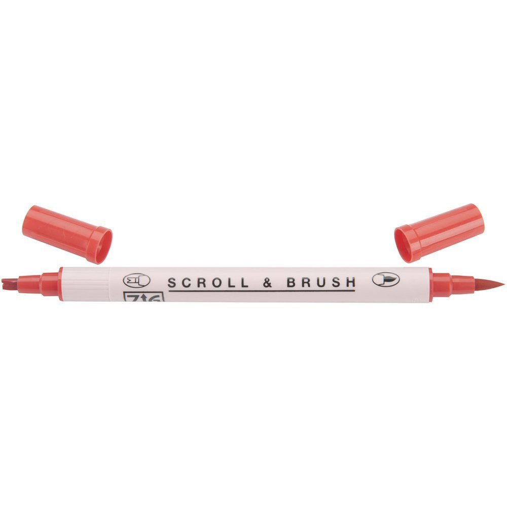 Zig Scroll & Brush Marker - Pure Red 020
