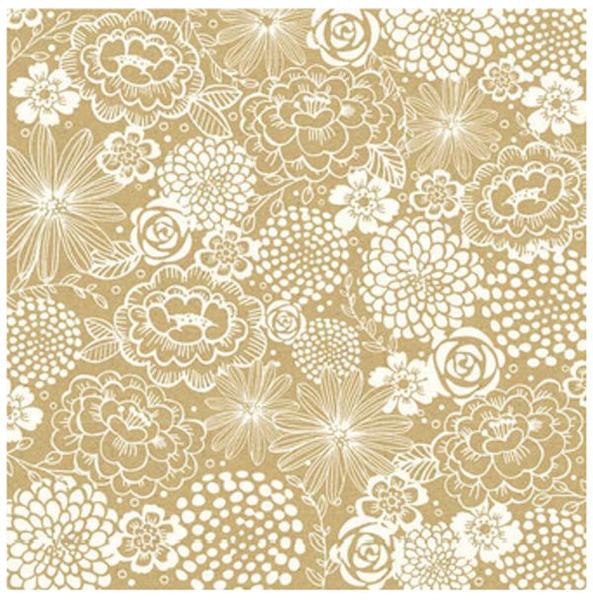 דף קארדסטוק - Homemade Collection - Kraft Paper - Florali
