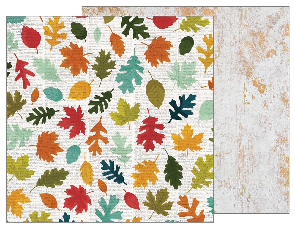 דף קארדסטוק - Warm and Cozy - Fallen Leaves